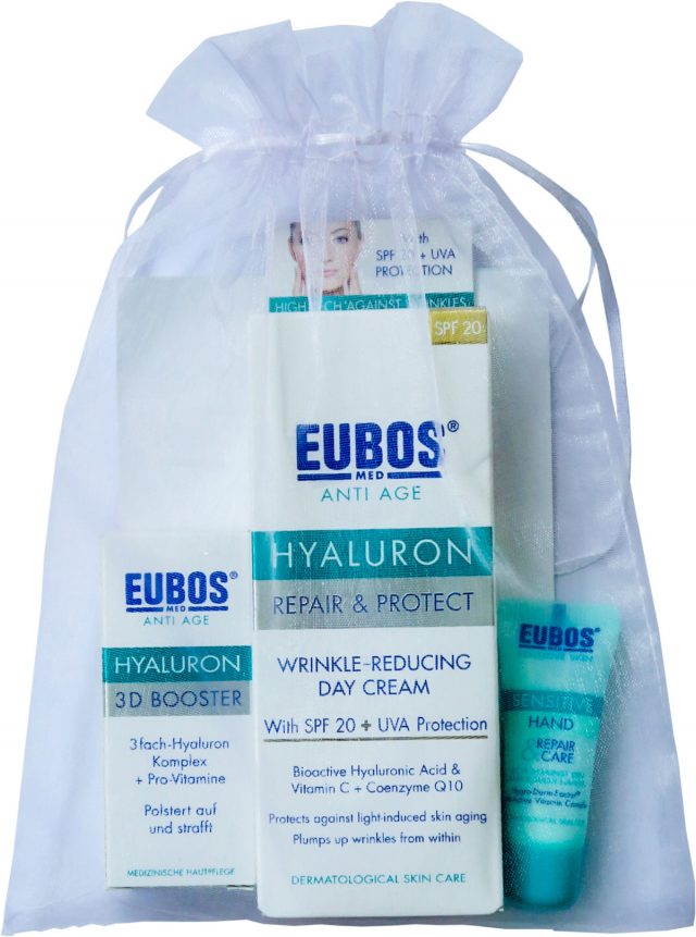 EUBOS DARILNI PAKET - ANTI AGE REPAIR & PROTECT DNEVNA SPF20 50ML + 3D BOOSTER 3ML + KREMA ZA ROKE 8ML